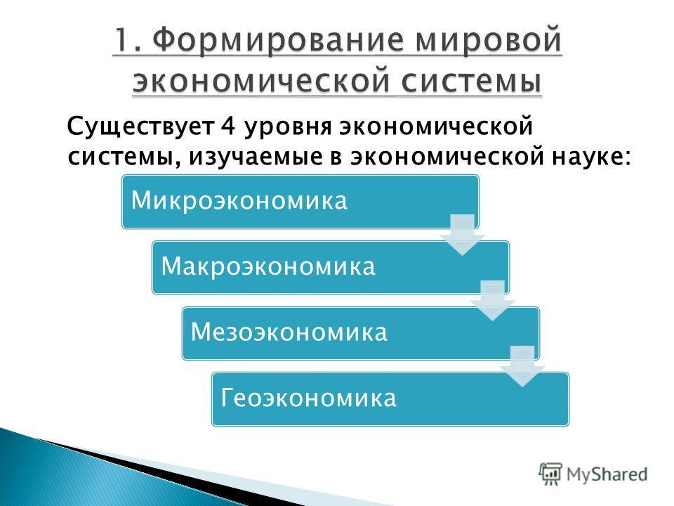 Существует 4 уровня экономической системы, изучаемые в экономической науке: МикроэкономикаМакроэкономикаМезоэкономикаГеоэкономика