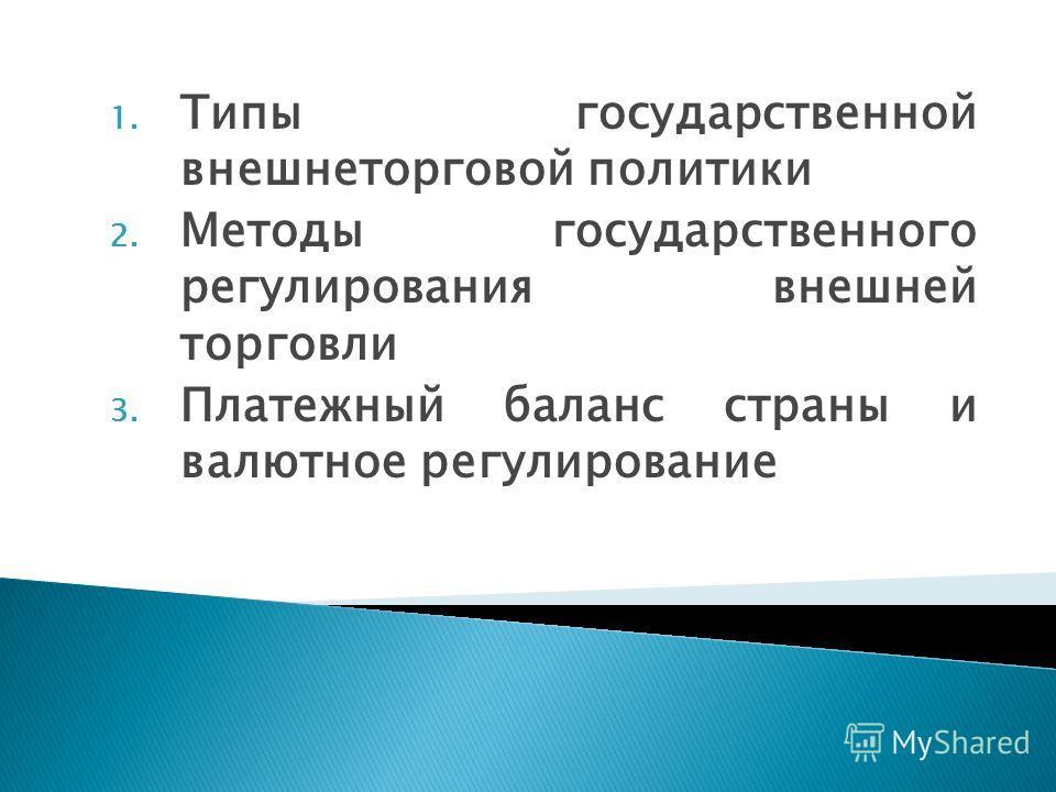 1. Типы государственной внешнеторговой политики 2. Методы государственного регулирования внешней торговли 3. Платежный баланс страны и валютное регулирование