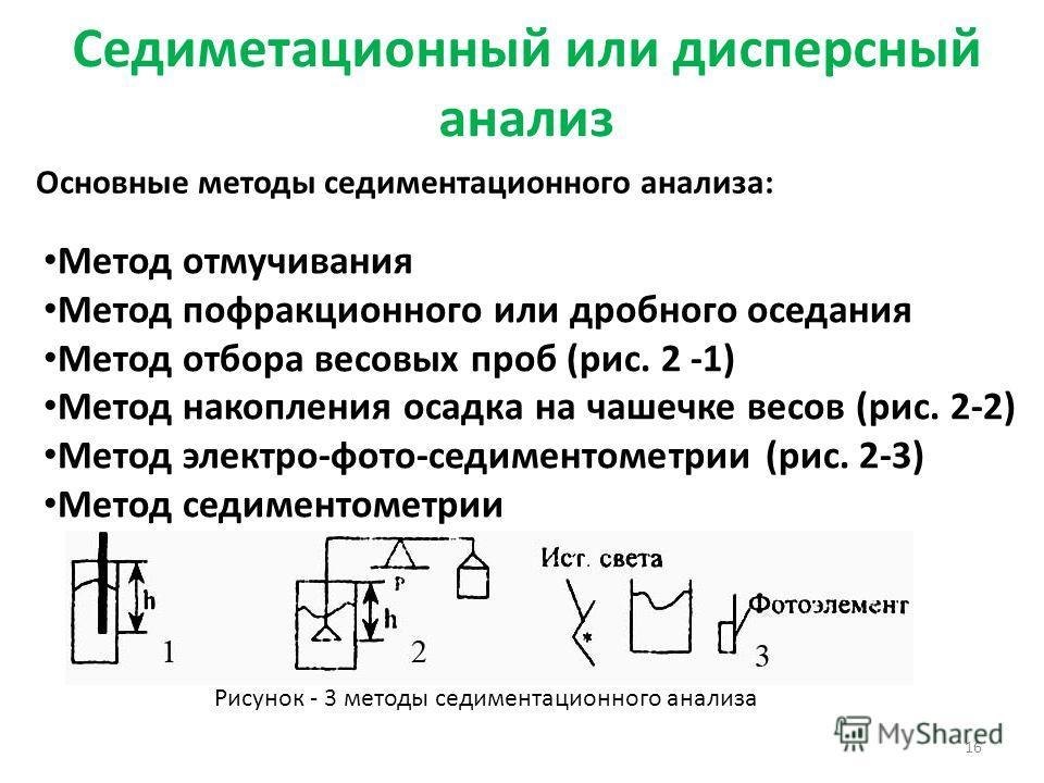 Седиметационный или дисперсный анализ 16 Основные методы седиментационного анализа: Метод отмучивания Метод пофракционного или дробного оседания Метод отбора весовых проб (рис. 2 -1) Метод накопления осадка на чашечке весов (рис. 2-2) Метод электро-ф