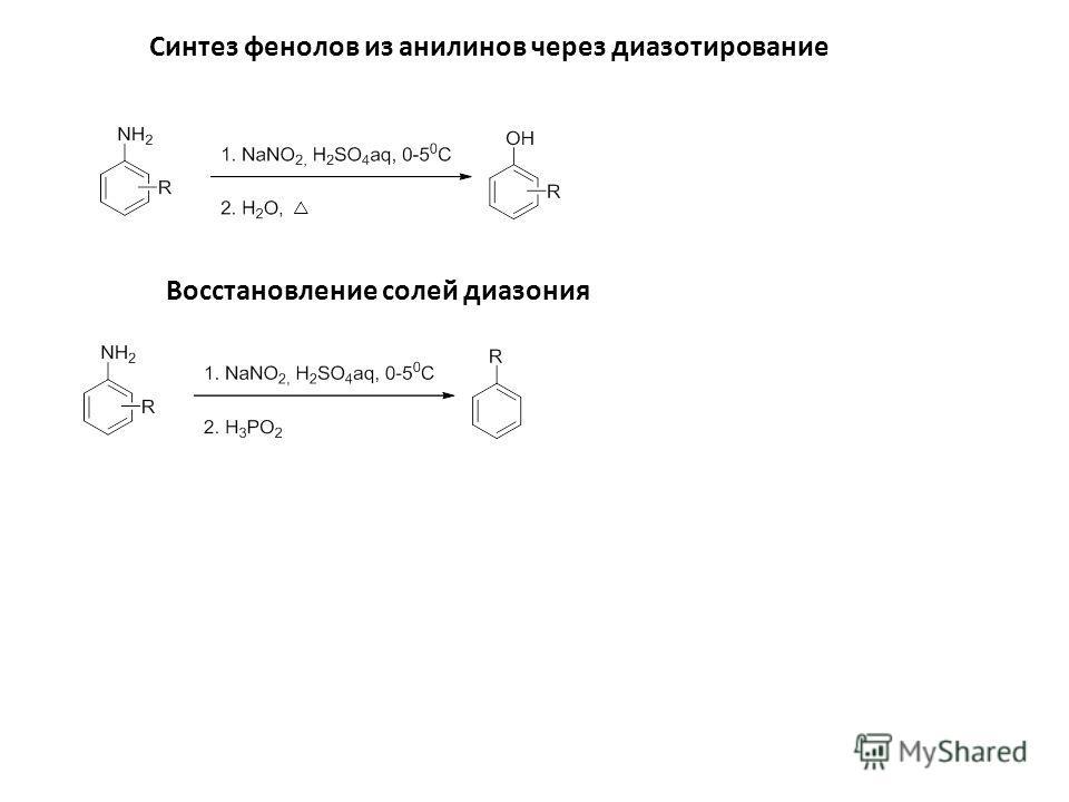 Синтез фенолов из анилинов через диазотирование Восстановление солей диазония