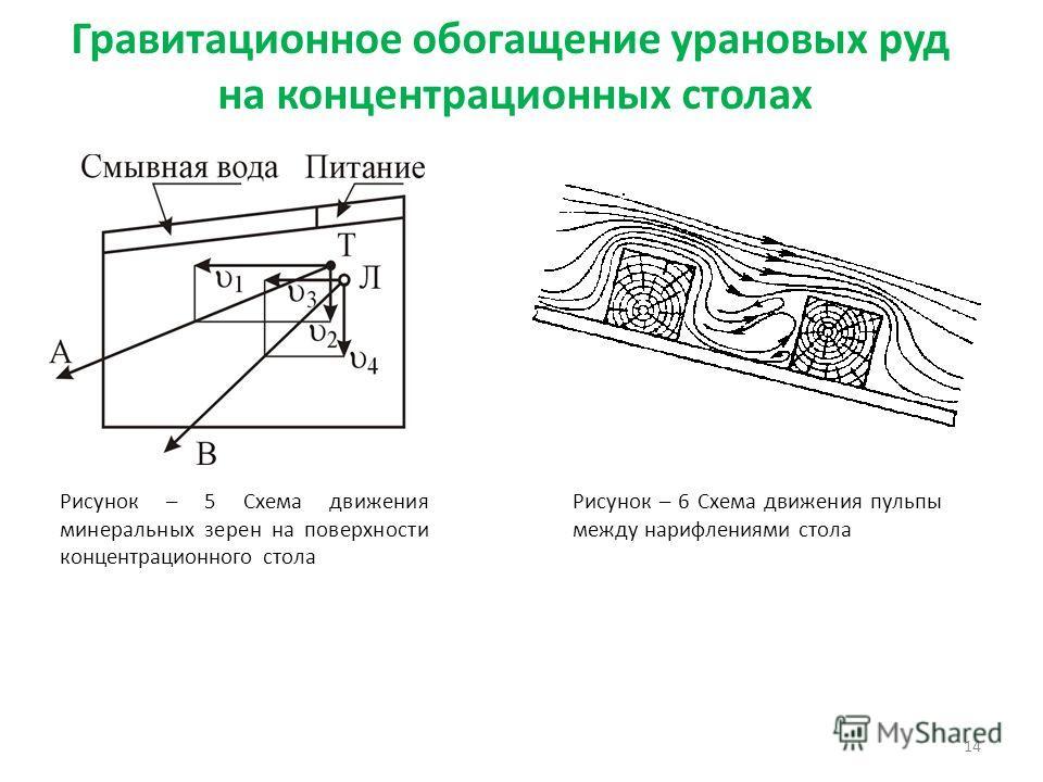 Гравитационное обогащение урановых руд на концентрационных столах 14 Рисунок – 5 Схема движения минеральных зерен на поверхности концентрационного стола Рисунок – 6 Схема движения пульпы между нарифлениями стола