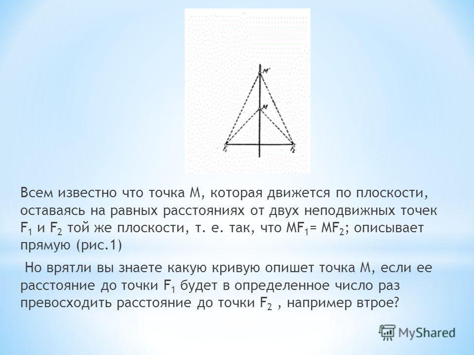 Всем известно что точка М, которая движется по плоскости, оставаясь на равных расстояниях от двух неподвижных точек F 1 и F 2 той же плоскости, т. е. так, что MF 1 = MF 2 ; описывает прямую (рис.1) Но врятли вы знаете какую кривую опишет точка М, есл