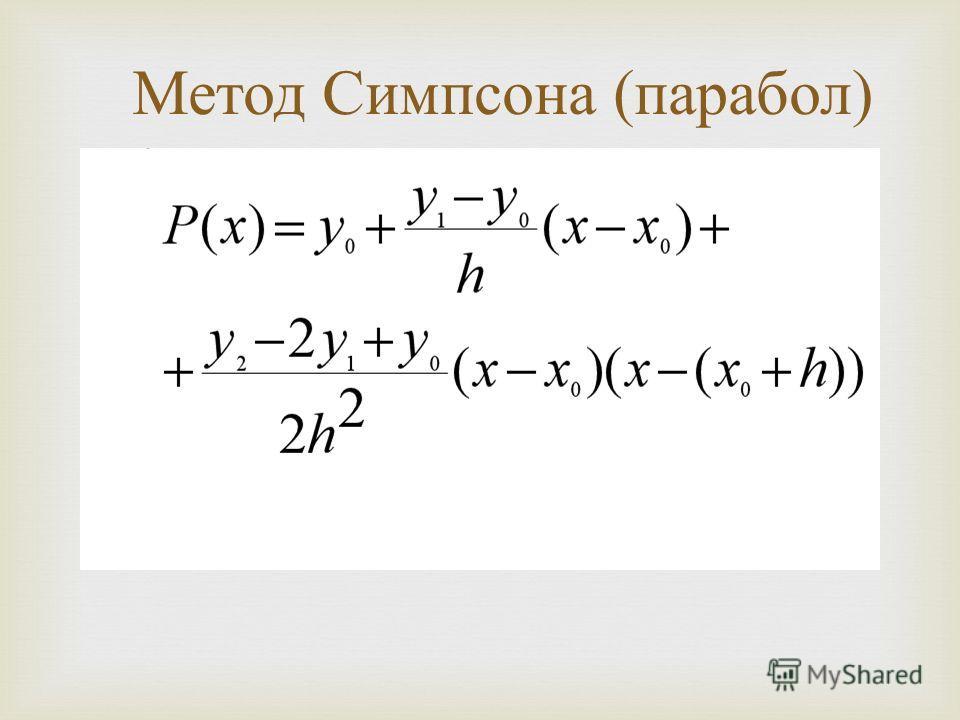 Метод Симпсона ( парабол )