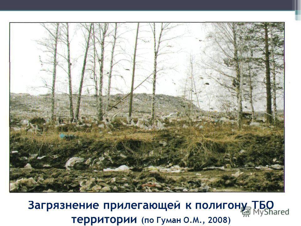 Загрязнение прилегающей к полигону ТБО территории (по Гуман О.М., 2008)