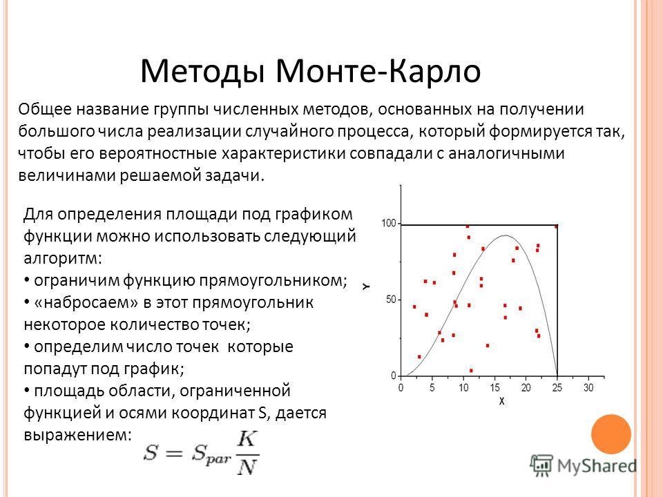 Методы Монте-Карло Общее название группы численных методов, основанных на получении большого числа реализации случайного процесса, который формируется так, чтобы его вероятностные характеристики совпадали с аналогичными величинами решаемой задачи. Дл