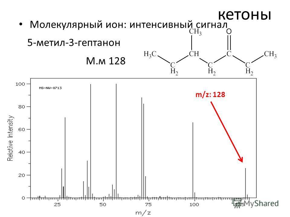 кетоны Молекулярный ион: интенсивный сигнал 5-метил-3-гептанон М.м 128 m/z: 128