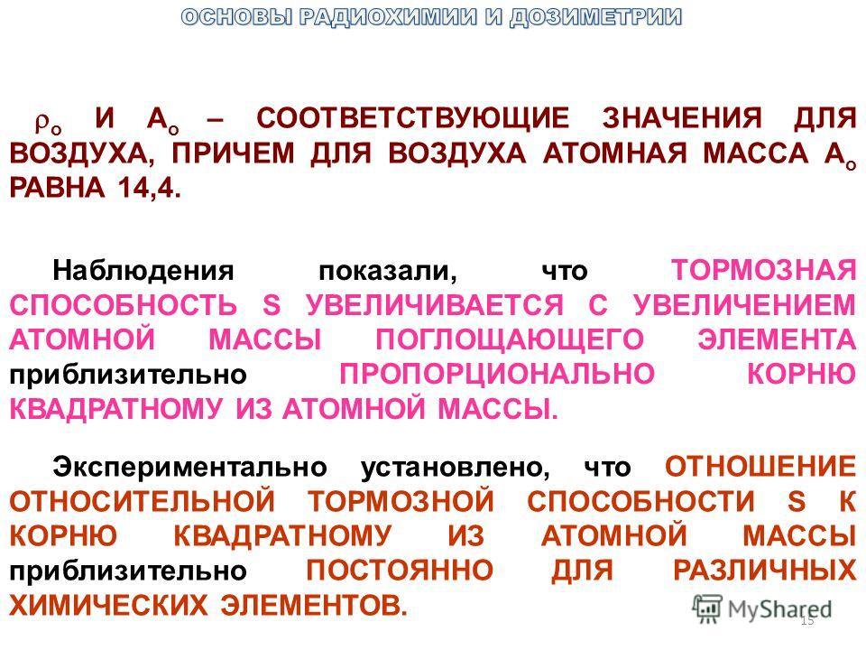 15 o И A o – СООТВЕТСТВУЮЩИЕ ЗНАЧЕНИЯ ДЛЯ ВОЗДУХА, ПРИЧЕМ ДЛЯ ВОЗДУХА АТОМНАЯ МАССА A o РАВНА 14,4. Наблюдения показали, что ТОРМОЗНАЯ СПОСОБНОСТЬ S УВЕЛИЧИВАЕТСЯ С УВЕЛИЧЕНИЕМ АТОМНОЙ МАССЫ ПОГЛОЩАЮЩЕГО ЭЛЕМЕНТА приблизительно ПРОПОРЦИОНАЛЬНО КОРНЮ