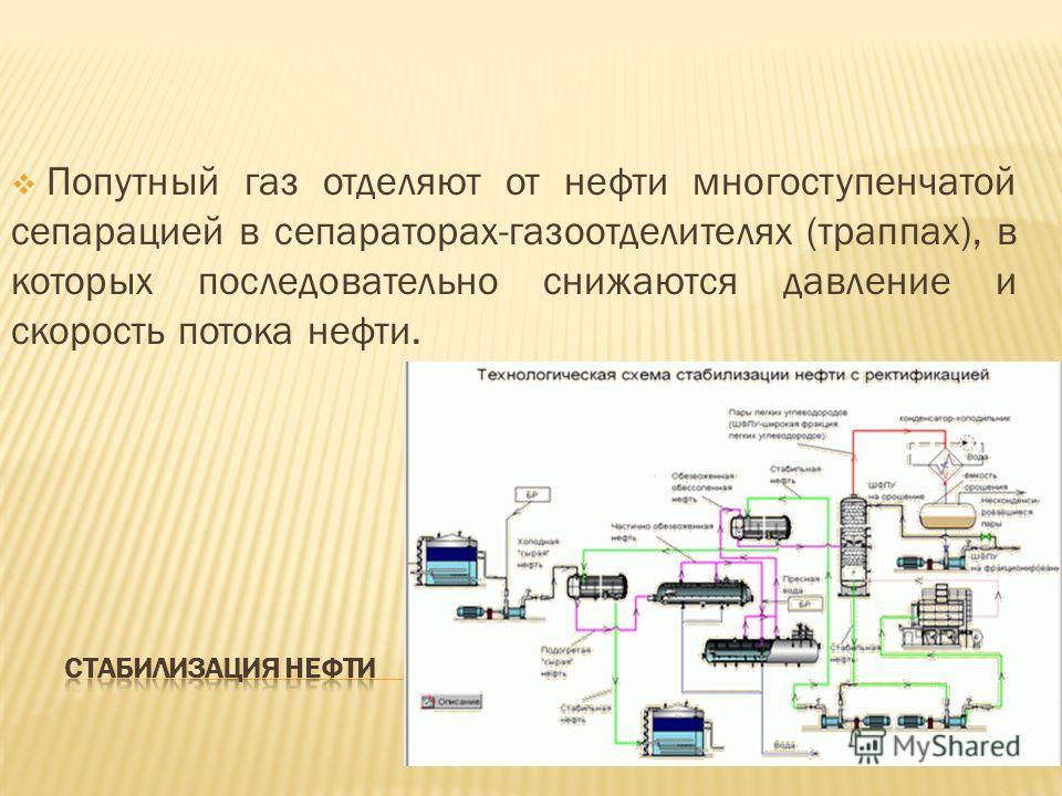 Попутный газ отделяют от нефти многоступенчатой сепарацией в сепараторах-газоотделителях (траппах), в которых последовательно снижаются давление и скорость потока нефти.