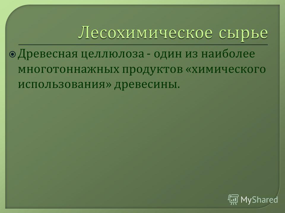 Древесная целлюлоза - один из наиболее многотоннажных продуктов « химического использования » древесины.