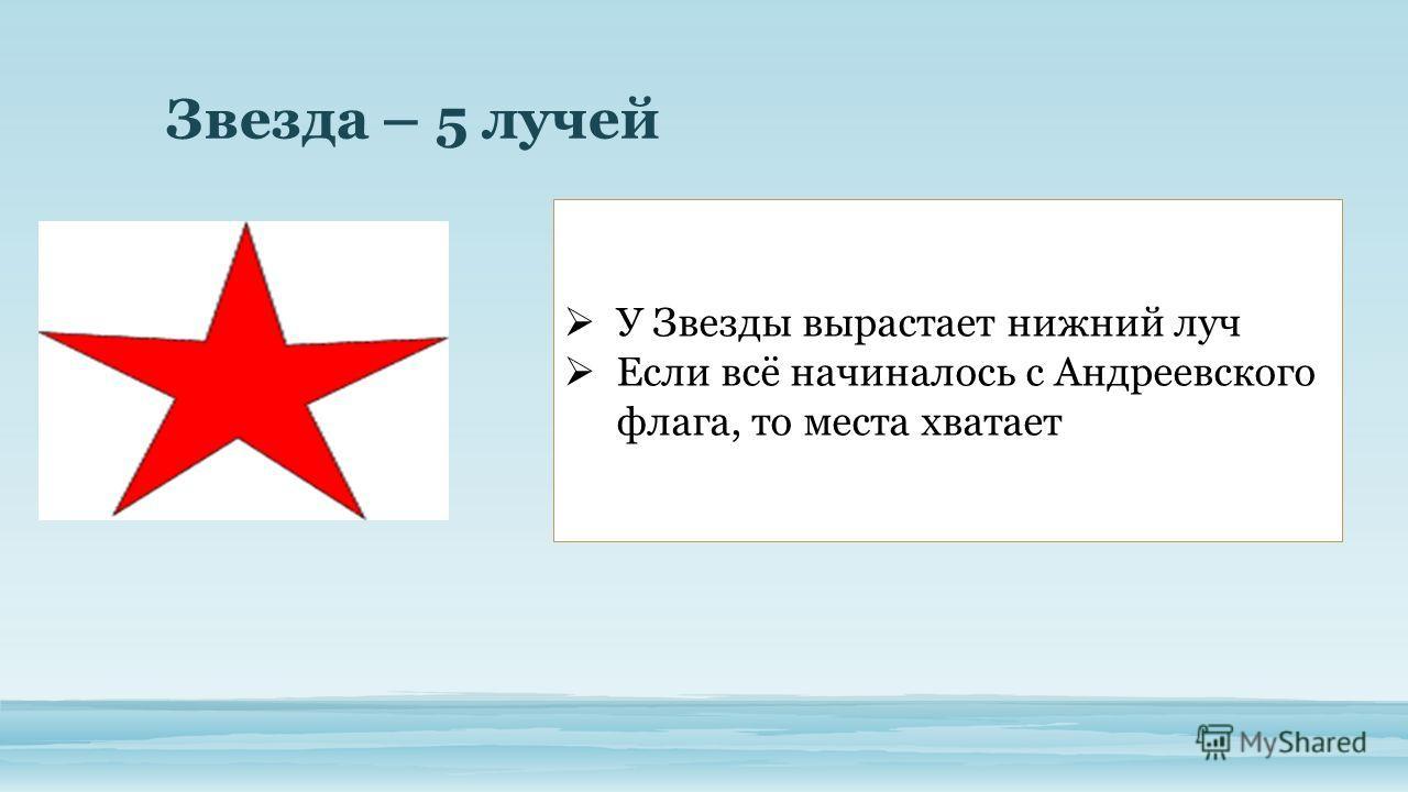 Звезда – 5 лучей У Звезды вырастает нижний луч Если всё начиналось с Андреевского флага, то места хватает