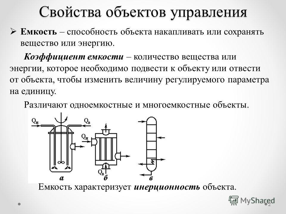 2 Емкость – способность объекта накапливать или сохранять вещество или энергию. Коэффициент емкости – количество вещества или энергии, которое необходимо подвести к объекту или отвести от объекта, чтобы изменить величину регулируемого параметра на ед