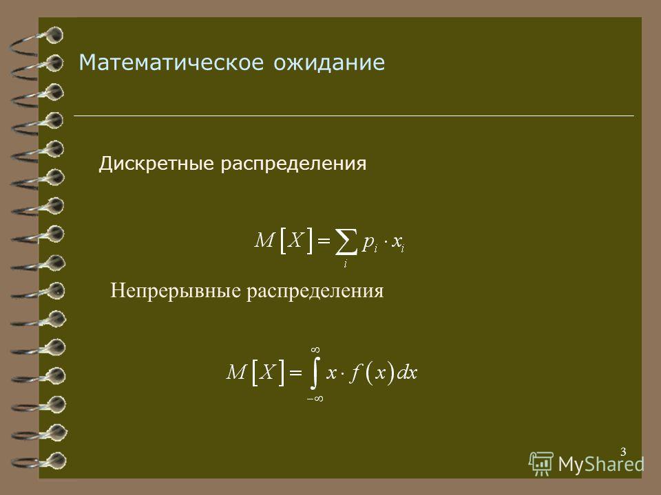 3 Математическое ожидание Дискретные распределения Непрерывные распределения