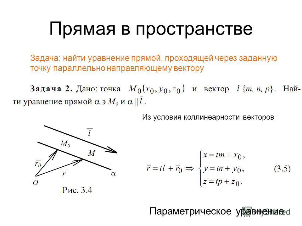 Прямая в пространстве Задача: найти уравнение прямой, проходящей через заданную точку параллельно направляющему вектору Из условия коллинеарности векторов Параметрическое уравнение