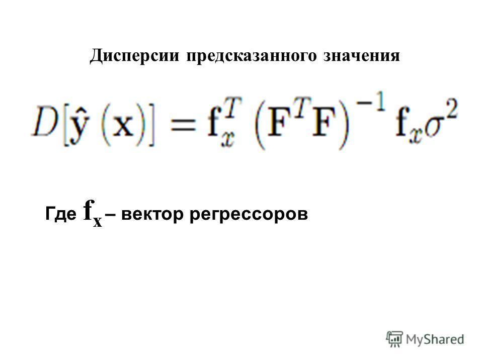Дисперсии предсказанного значения Где f x – вектор регрессоров