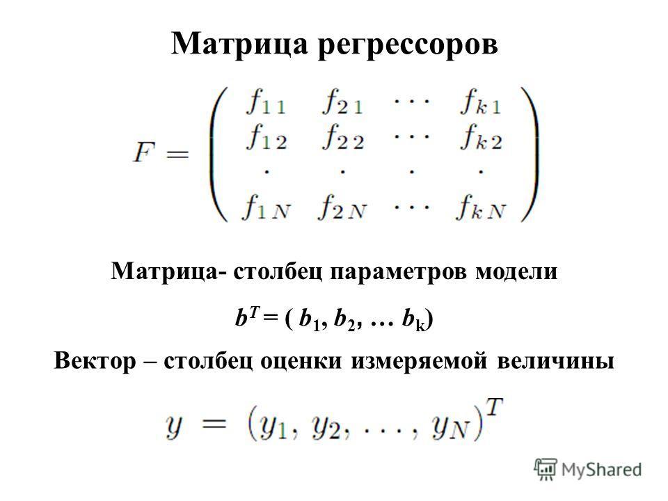 Матрица регрессоров Матрица- столбец параметров модели b T = ( b 1, b 2, … b k ) Вектор – столбец оценки измеряемой величины