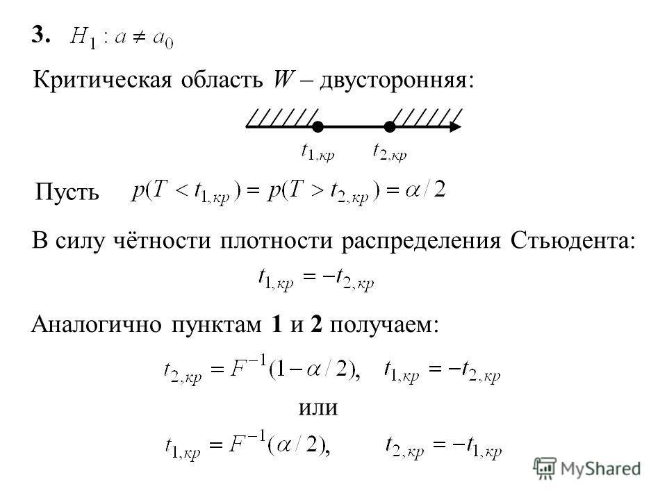 3. Критическая область W – двусторонняя: Пусть В силу чётности плотности распределения Стьюдента: Аналогично пунктам 1 и 2 получаем:, или,