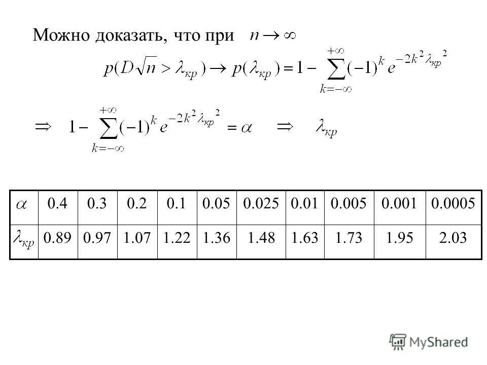 Можно доказать, что при 2.031.951.731.631.481.361.221.070.970.89 0.00050.0010.0050.010.0250.050.10.20.30.4