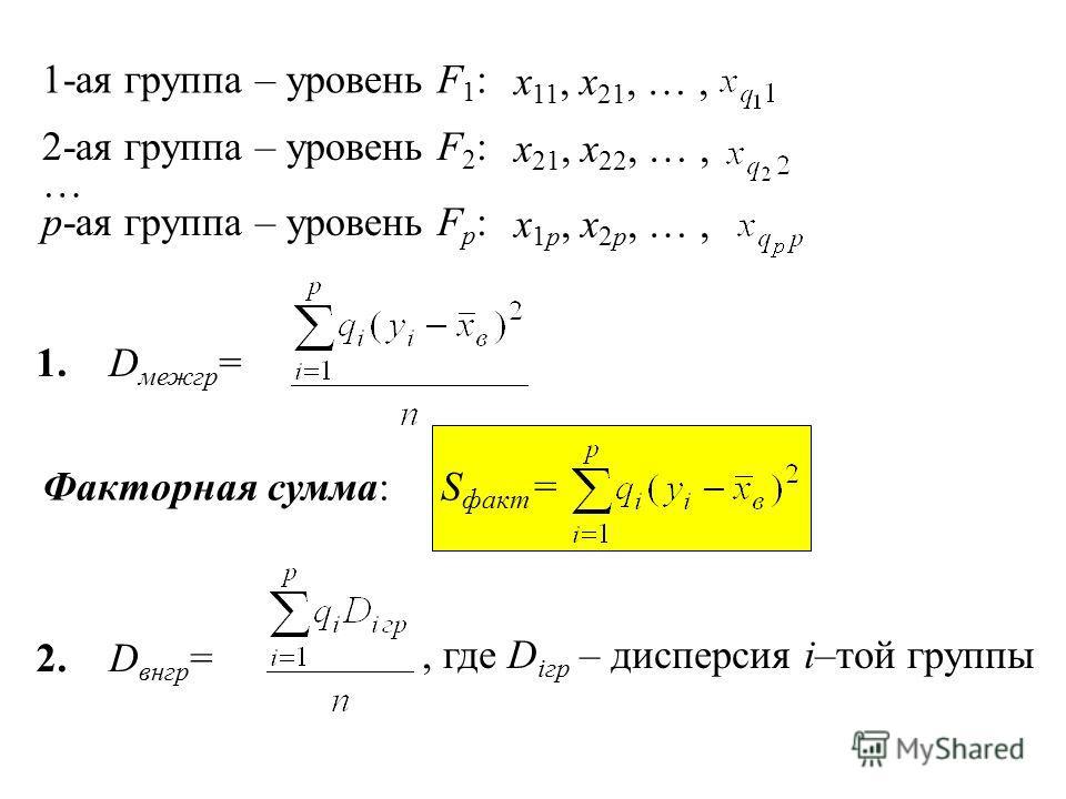 1-ая группа – уровень F 1 : x 11, x 21, …, 2-ая группа – уровень F 2 : x 21, x 22, …, p-ая группа – уровень F p : x 1p, x 2p, …, … 1.D межгр = Факторная сумма: 2.D внгр =, где D iгр – дисперсия i–той группы S факт =