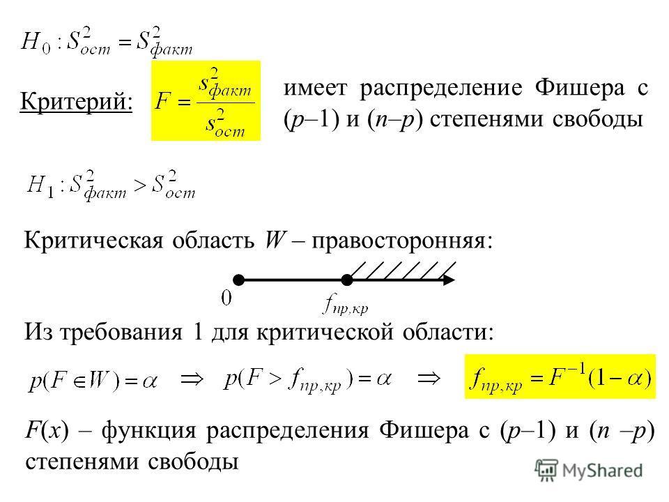 Критерий: имеет распределение Фишера с (p–1) и (n–p) степенями свободы Критическая область W – правосторонняя: Из требования 1 для критической области: F(x) – функция распределения Фишера с (p–1) и (n –p) степенями свободы