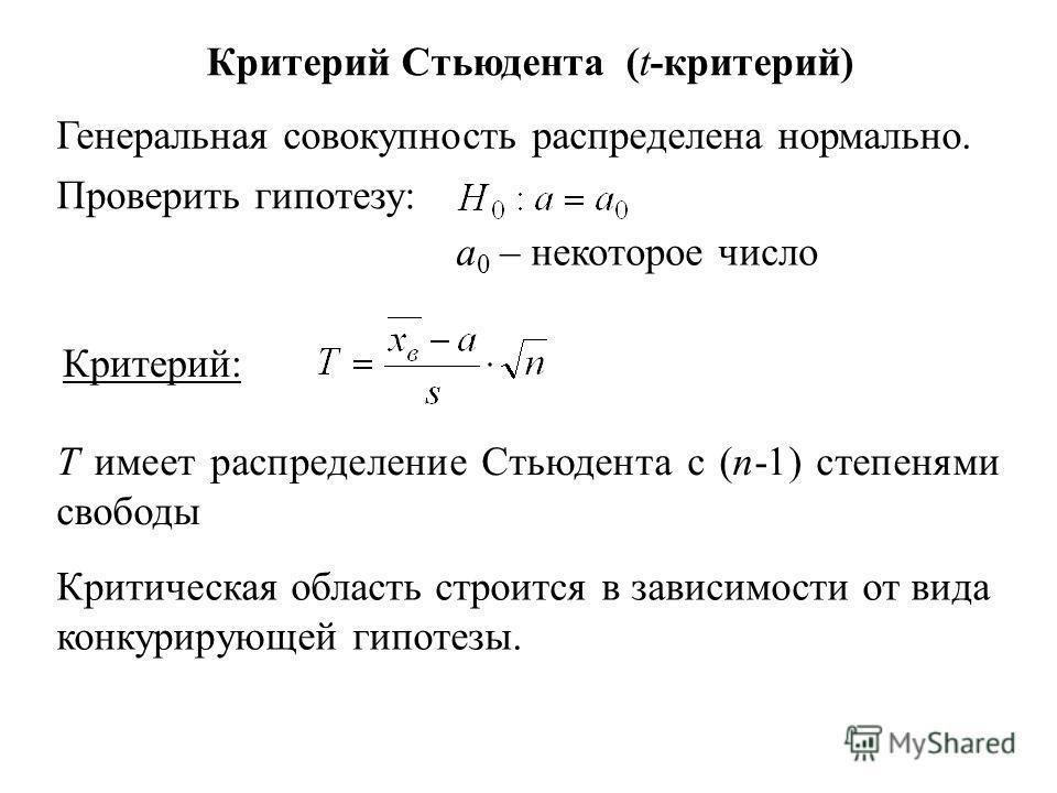 Критерий Стьюдента (t-критерий) Генеральная совокупность распределена нормально. Проверить гипотезу: a 0 – некоторое число Критерий: Т имеет распределение Стьюдента с (n-1) степенями свободы Критическая область строится в зависимости от вида конкурир