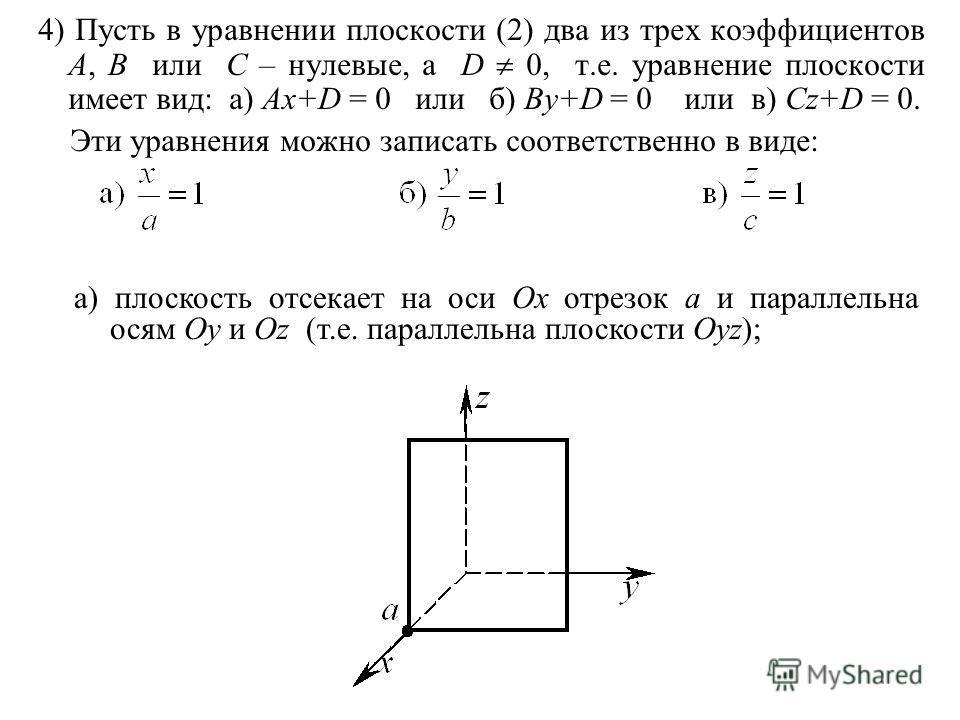 4) Пусть в уравнении плоскости (2) два из трех коэффициентов A, B или C – нулевые, а D 0, т.е. уравнение плоскости имеет вид: а) Ax+D = 0 или б) By+D = 0 или в) Cz+D = 0. Эти уравнения можно записать соответственно в виде: а) плоскость отсекает на ос