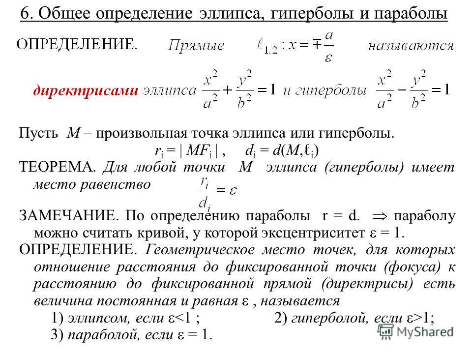 6. Общее определение эллипса, гиперболы и параболы Пусть M – произвольная точка эллипса или гиперболы. r i = | MF i |, d i = d(M, i ) ТЕОРЕМА. Для любой точки M эллипса (гиперболы) имеет место равенство ЗАМЕЧАНИЕ. По определению параболы r = d. параб