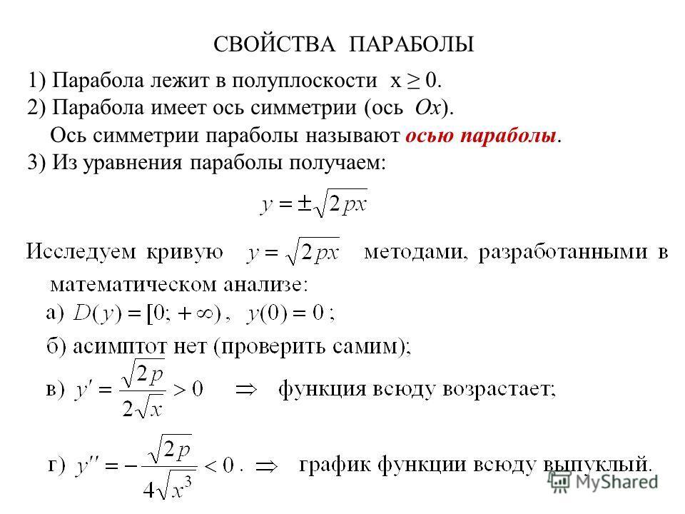 СВОЙСТВА ПАРАБОЛЫ 1) Парабола лежит в полуплоскости x 0. 2) Парабола имеет ось симметрии (ось Ox). Ось симметрии параболы называют осью параболы. 3) Из уравнения параболы получаем: