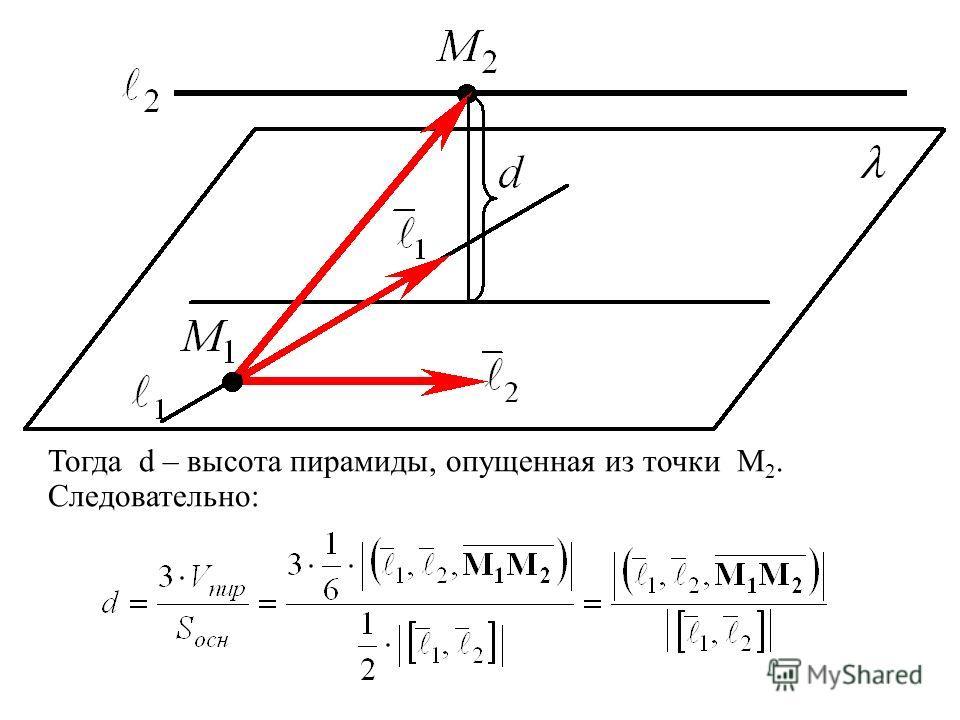Тогда d – высота пирамиды, опущенная из точки M 2. Следовательно: