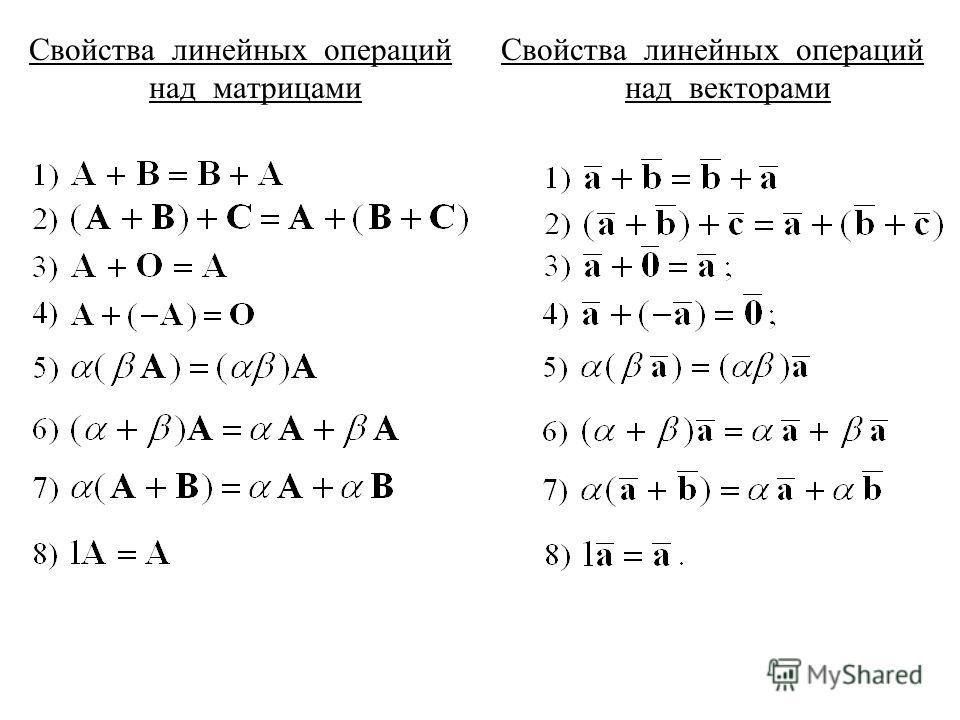 Свойства линейных операций над матрицами Свойства линейных операций над векторами