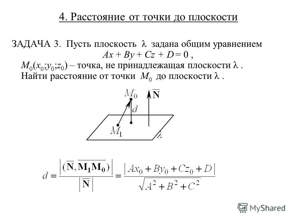 4. Расстояние от точки до плоскости ЗАДАЧА 3. Пусть плоскость λ задана общим уравнением Ax + By + Cz + D = 0, M 0 (x 0 ;y 0 ;z 0 ) – точка, не принадлежащая плоскости λ. Найти расстояние от точки M 0 до плоскости λ.