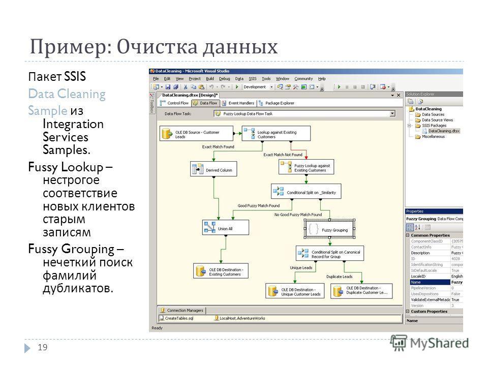 Пример : Очистка данных 19 Пакет SSIS Data Cleaning Sample из Integration Services Samples. Fussy Lookup – нестрогое соответствие новых клиентов старым записям Fussy Grouping – нечеткий поиск фамилий дубликатов.
