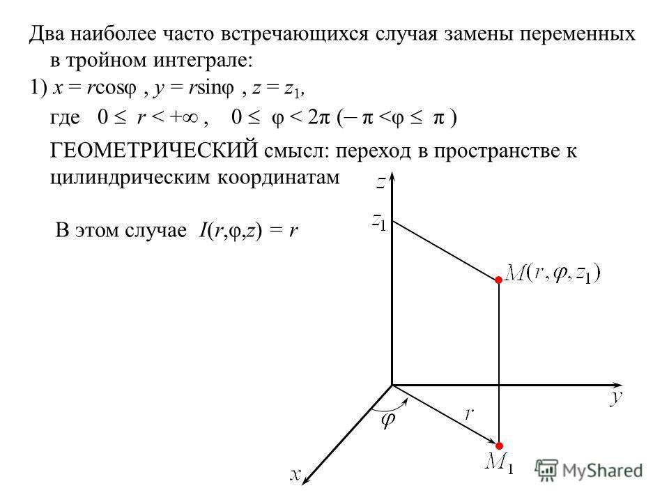 Два наиболее часто встречающихся случая замены переменных в тройном интеграле: 1) x = rcosφ, y = rsinφ, z = z 1, где 0 r < +, 0 φ < 2π ( – π