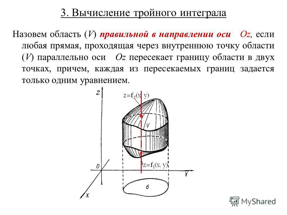 3. Вычисление тройного интеграла Назовем область (V) правильной в направлении оси Oz, если любая прямая, проходящая через внутреннюю точку области (V) параллельно оси Oz пересекает границу области в двух точках, причем, каждая из пересекаемых границ