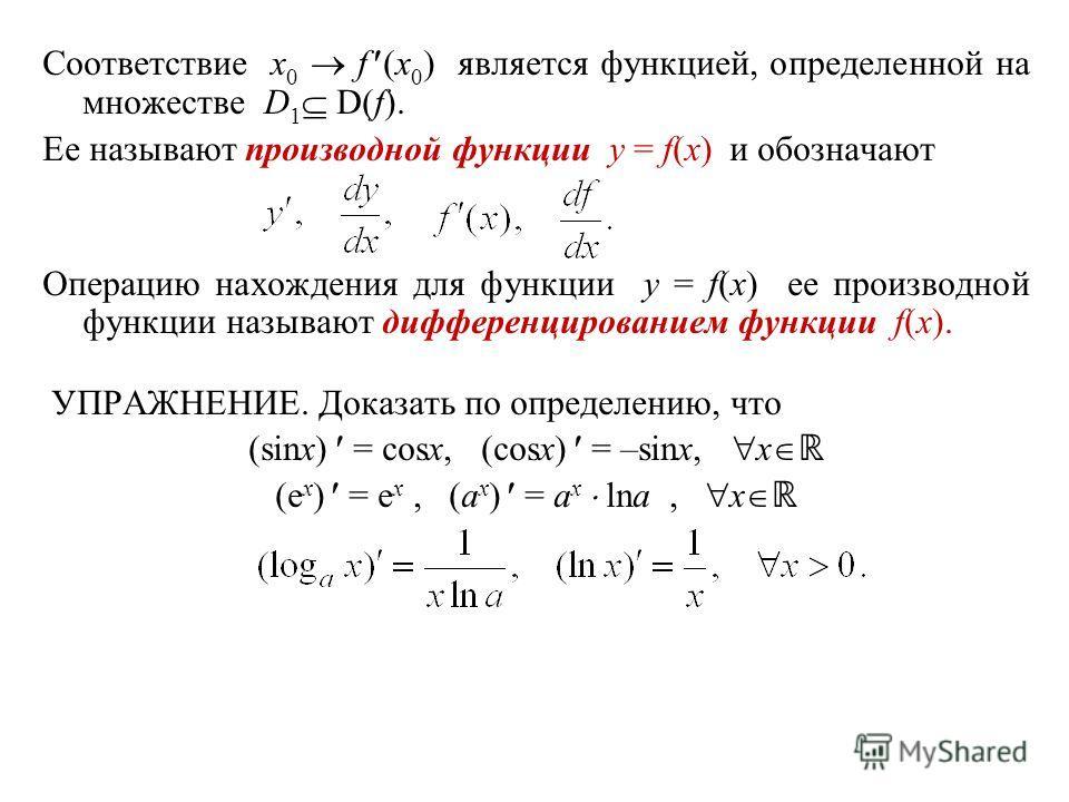 Соответствие x 0 f (x 0 ) является функцией, определенной на множестве D 1 D(f). Ее называют производной функции y = f(x) и обозначают Операцию нахождения для функции y = f(x) ее производной функции называют дифференцированием функции f(x). УПРАЖНЕНИ
