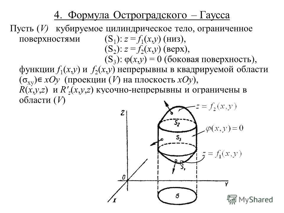 4. Формула Остроградского – Гаусса Пусть (V) кубируемое цилиндрическое тело, ограниченное поверхностями(S 1 ): z = f 1 (x,y) (низ), (S 2 ): z = f 2 (x,y) (верх), (S 3 ): φ(x,y) = 0 (боковая поверхность), функции f 1 (x,y) и f 2 (x,y) непрерывны в ква