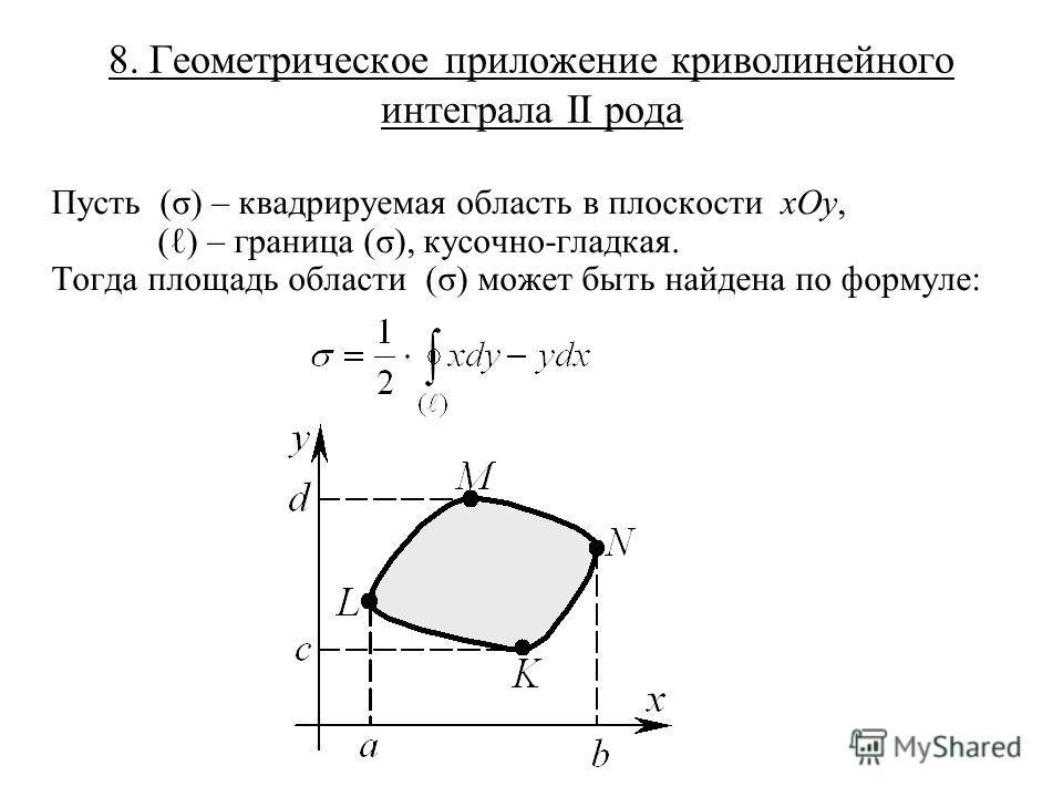 8. Геометрическое приложение криволинейного интеграла II рода Пусть (σ) – квадрируемая область в плоскости xOy, ( ) – граница (σ), кусочно-гладкая. Тогда площадь области (σ) может быть найдена по формуле: