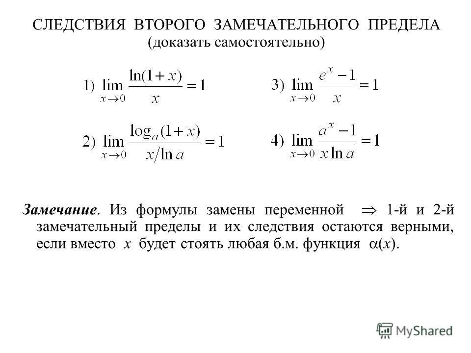 СЛЕДСТВИЯ ВТОРОГО ЗАМЕЧАТЕЛЬНОГО ПРЕДЕЛА (доказать самостоятельно) Замечание. Из формулы замены переменной 1-й и 2-й замечательный пределы и их следствия остаются верными, если вместо x будет стоять любая б.м. функция (x).