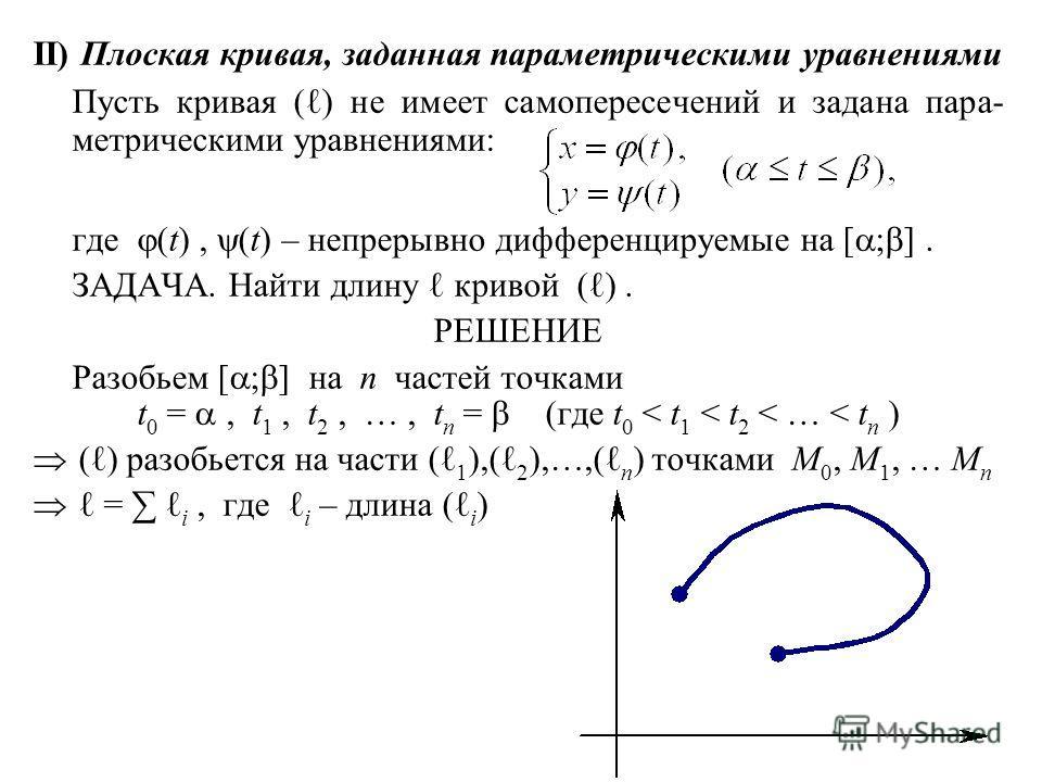 II) Плоская кривая, заданная параметрическими уравнениями Пусть кривая () не имеет самопересечений и задана пара- метрическими уравнениями: где (t), (t) – непрерывно дифференцируемые на [ ; ]. ЗАДАЧА. Найти длину кривой ( ). РЕШЕНИЕ Разобьем [ ; ] на