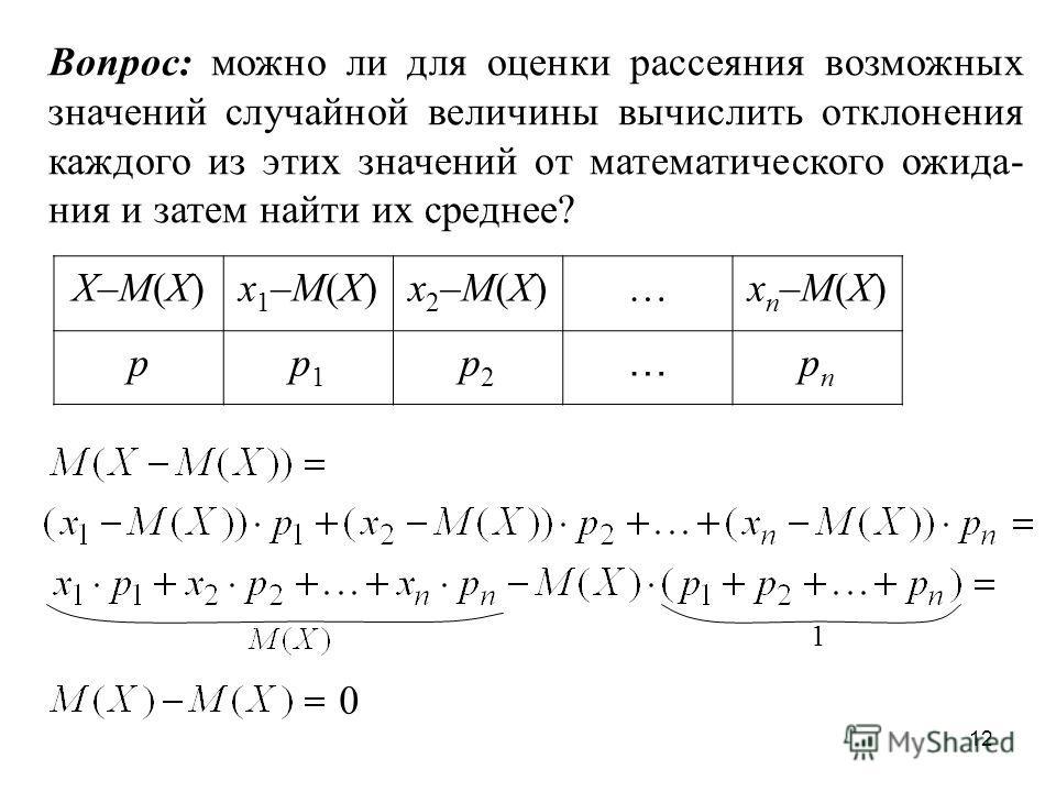 12 X–М(Х)x 1 –М(Х)x 2 –М(Х)…x n –М(Х) pp1p1 p2p2 … pnpn Вопрос: можно ли для оценки рассеяния возможных значений случайной величины вычислить отклонения каждого из этих значений от математического ожида- ния и затем найти их среднее? 1 0