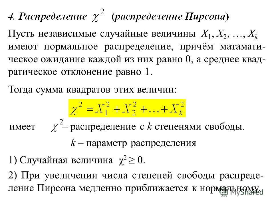 24 Пусть независимые случайные величины Х 1, Х 2, …, Х k имеют нормальное распределение, причём матамати- ческое ожидание каждой из них равно 0, а среднее квад- ратическое отклонение равно 1. Тогда сумма квадратов этих величин: имеет – распределение