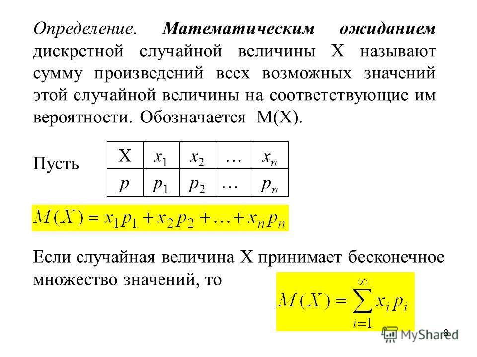 8 Определение. Математическим ожиданием дискретной случайной величины Х называют сумму произведений всех возможных значений этой случайной величины на соответствующие им вероятности. Обозначается М(Х). Пусть pnpn … p2p2 p1p1 p xnxn …x2x2 x1x1 X Если