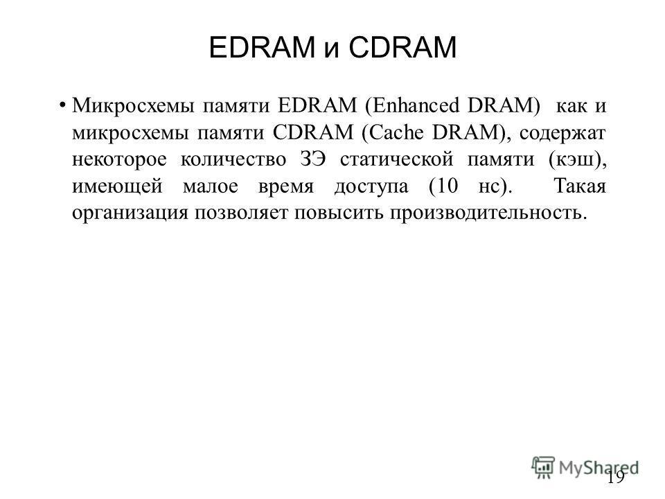 19 Микросхемы памяти EDRAM