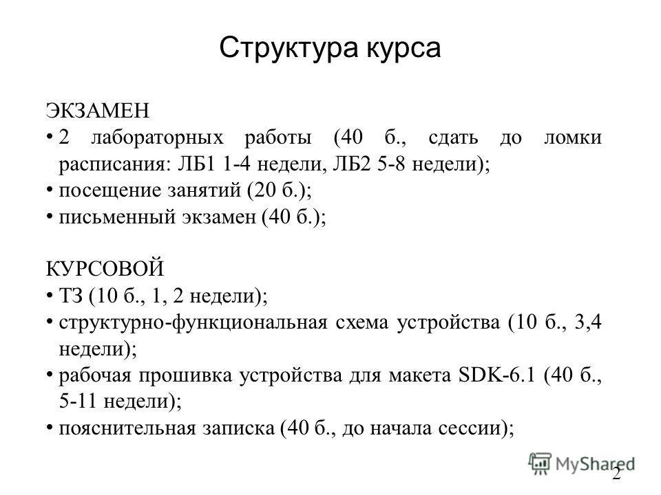 Структура курса 2 ЭКЗАМЕН 2 лабораторных работы (40 б., сдать до ломки расписания: ЛБ1 1-4 недели, ЛБ2 5-8 недели); посещение занятий (20 б.); письменный экзамен (40 б.); КУРСОВОЙ ТЗ (10 б., 1, 2 недели); структурно-функциональная схема устройства (1