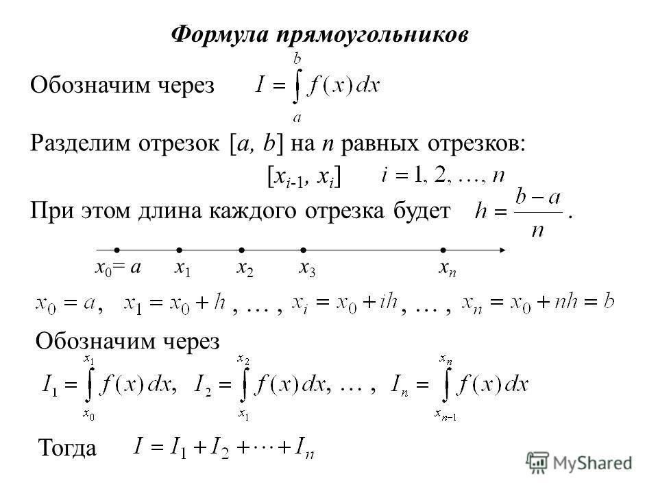Формула прямоугольников Обозначим через Разделим отрезок [a, b] на n равных отрезков: [x i-1, x i ] При этом длина каждого отрезка будет. x 0 = ax2x2 x1x1 x3x3 xnxn,, …, Обозначим через,, …, Тогда