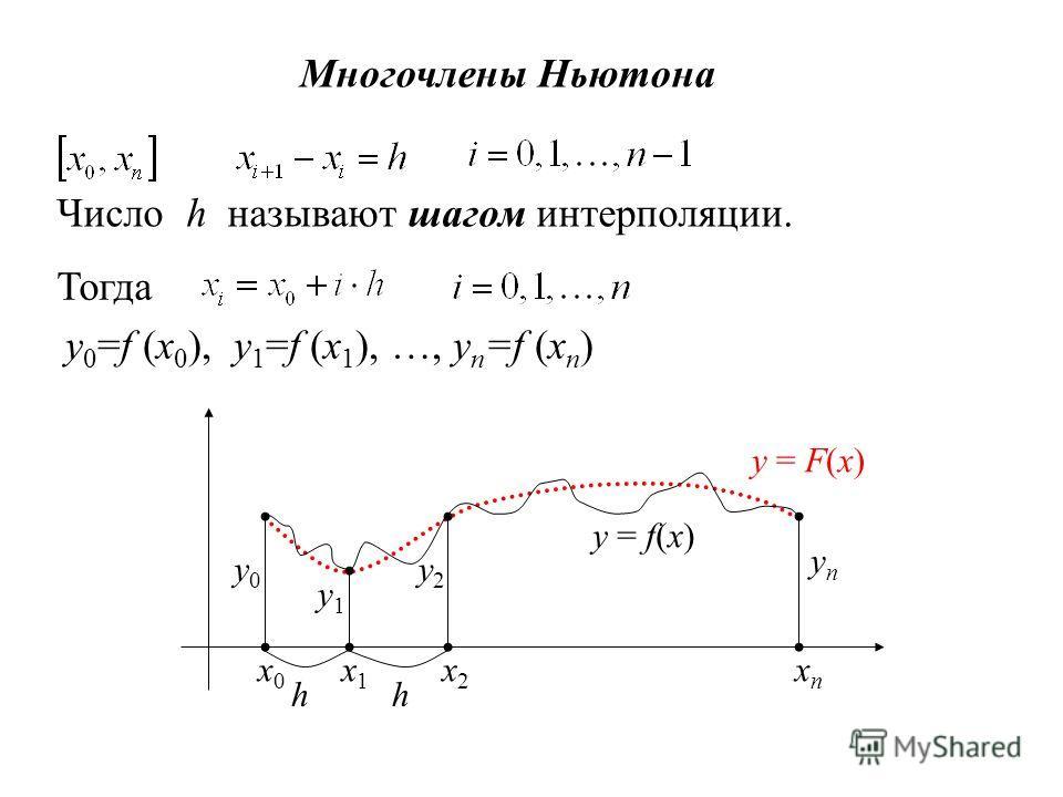 Многочлены Ньютона Число h называют шагом интерполяции. Тогда y 0 =f (x 0 ), y 1 =f (x 1 ), …, y n =f (x n ) x0x0 x1x1 x2x2 xnxn y0y0 y1y1 y2y2 ynyn y = f(x) y = F(x) hh