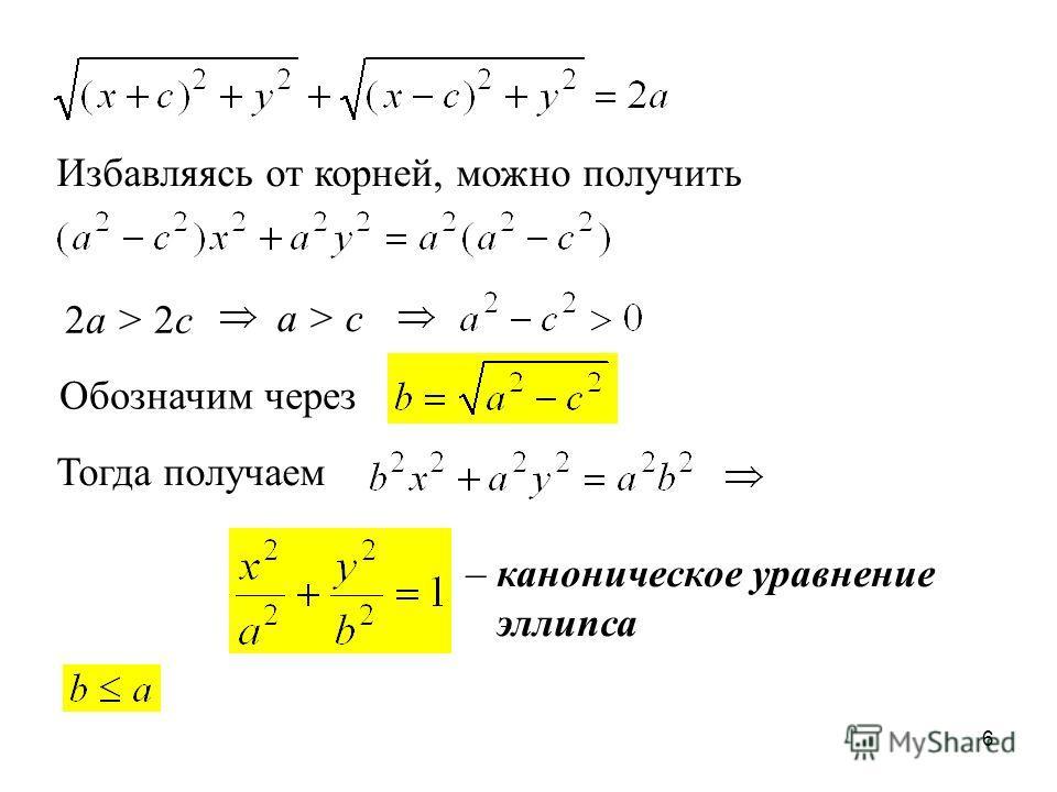 6 2a > 2c Избавляясь от корней, можно получить a > c Обозначим через Тогда получаем – каноническое уравнение эллипса