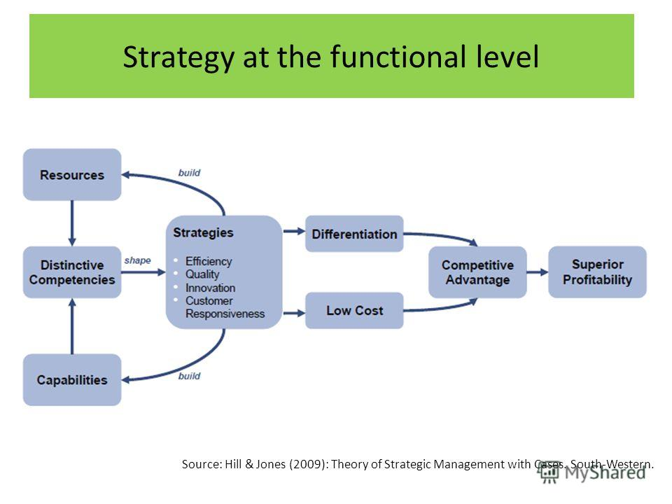 Strategy at the functional level Source: Hill & Jones (2009): Theory of Strategic Management with Cases. South-Western.