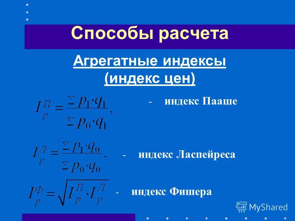 Способы расчета - индекс Пааше - индекс Ласпейреса Агрегатные индексы (индекс цен) - индекс Фишера