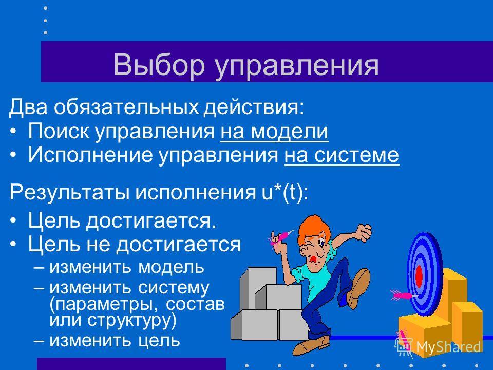 Выбор управления y M (t) = S M ( u(t), v M (t) ) - критерий качества управления ( y M (t), y*(t) ) u*(t) = argmin ( y M (t), y*(t) ) y *(t) y0y0 y * T0T0 T * Цель u(t) U y M *(t) y M *(t) = S M ( u*(t), v M (t) )