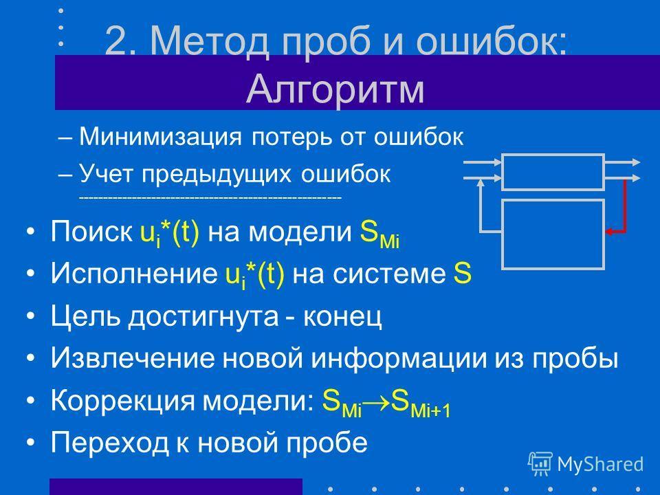 2. Метод проб и ошибок y M *(t) y(t) Система сложная Модель неадекватна Цель - сделать модель адекватной, добыть информацию о системе Способ - экспериментирование с системой в ходе управления ею
